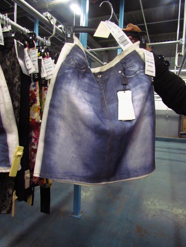 D&G chiffon blazers w/ screen printed denim workshirt w/ matching skirt