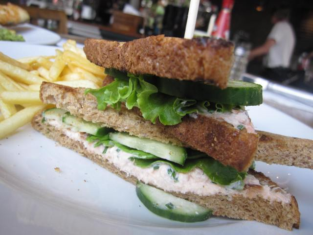 Smoked Salmon w/ cucumber sandwich in Notting Hill