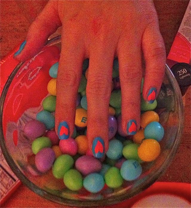 Candy Coated Love Drops; Insta Dri in Brisk Blue w/ Hearts; Insta Dri Fuchsia Flare