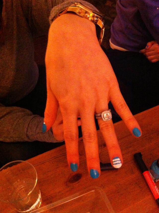 Ocean inspired; Insta Dri in brisk blue w/ white nail pen for waves