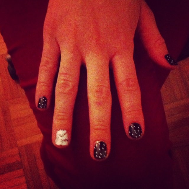 polka dot manicure with accent fingers;  Salon Effects Real Nail Polish Strips in Love Letters