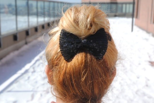 black sequin bow clip, Forever 21, $3.80