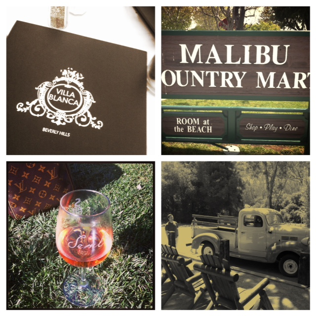 Dinner At Villa Blanca. Brunch at the Malibu Country Mart. Soaking up the sun at Malibu Wines, and a throwback in time at the old place.
